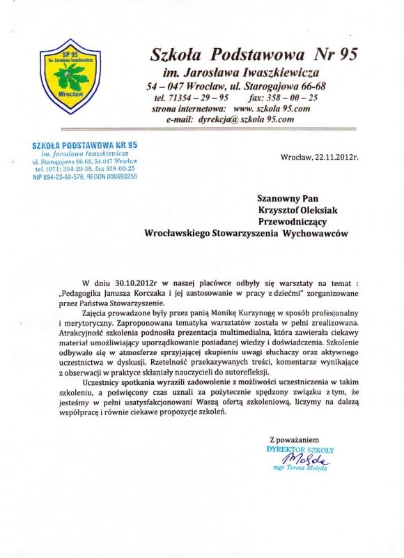 Szkoła Podstawowa nr 95 - referencje dot. szkolenia