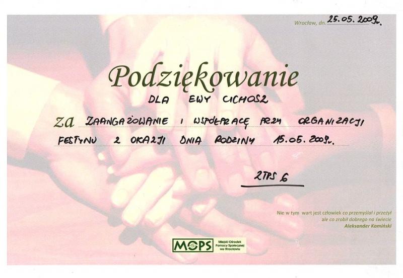 Miejski Ośrodek Pomocy Społecznej we Wrocławiu - podziękowanie dla Ewy Cichosz