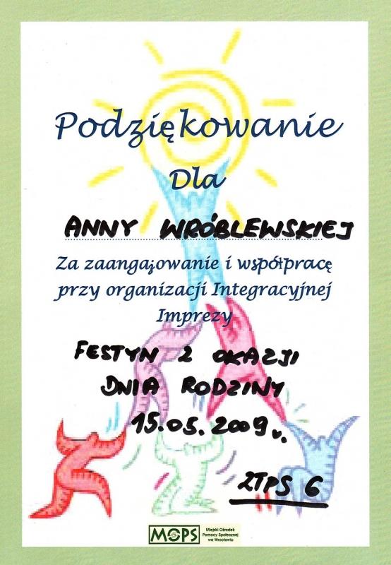 Miejski Ośrodek Pomocy Społecznej we Wrocławiu - podziękowanie dla Anny Wróblewskiej