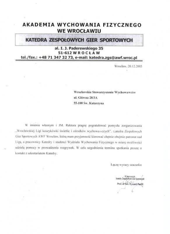 Katedra Zespołowych Gier Sportowych AWF - 2005 r.
